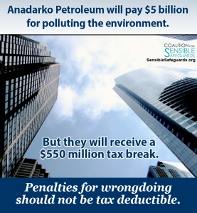 Anadarko Petroleum isn;t the only company that got to receive tax breaks from paying to settle charges